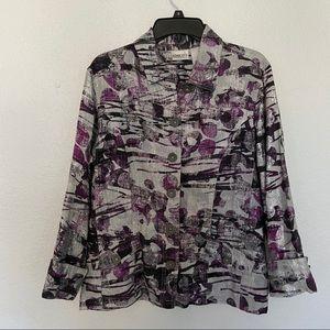 Chicos 2 Large Silver Metallic Purple Linen Jacket